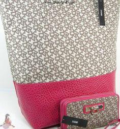DKNY Logo Donna Karen Purse Tote XL Bag & Wallet Set Lot 2 Piece Pink $290 NWT