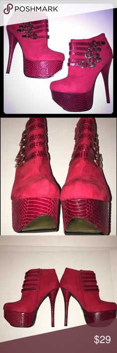 Red platform high heel booties Only worn once, super sexy with gold accents. Very small mark in inside of one toe. Great condition. Shoe Dazzle Shoes Ankle Boots & Booties