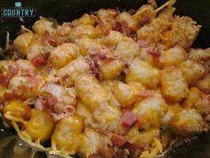 Freeze ahead Crock Pot Cheese Chicken Tater Tot Casserole