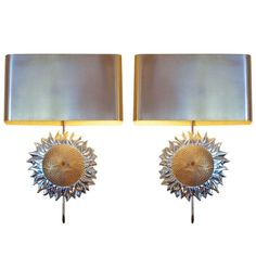 """Pair of Sconces """"Aux Tournesols"""" by Maison Charles et Fils 1970 