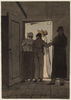 12 luglio 1805 I membri della famiglia Andriessen guardano lo scavo della latrina,situato sotto il marciapiede, a quanto pare c'è un ratto. Collezione: Archives Amsterdam City