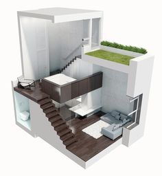 The new interior scheme spirals upward through four levels, from kitchen to living room to sleeping loft to an outdoor terrace planted as a green roof.