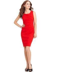 $89.98 Calvin Klein Dress, Sleeveless Seamed Sheath - Womens Dresses - Macy's