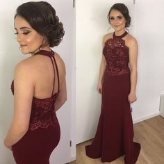 halter bridesmaid dress,mermaid prom dress,burgundy evening gowns,long formal gowns,mermaid evening dress,wedding party dress