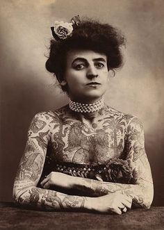 I don't think that I'll ever be this tattooed, but I love how badass this Victorian tattooed lady is in her own skin.
