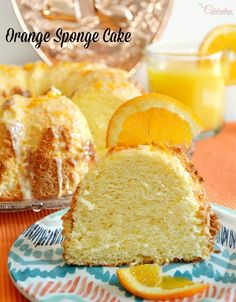 Bake up a light-as-air & delicious Orange Sponge Cake, finished with bright, orange glaze & grated orange peel. Perfect for a celebration! at littlemisscelebration.com