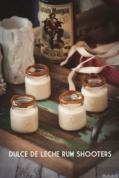 Dulce de Leche Rum Shooters Recipe #captainstable fun easy little cocktails for any party!