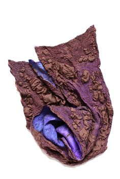 Felted Fashion - silk & wool, nuno felted scarf with 3D textile textures - fabric surface design; creative textiles manipulation // Marina Shkolnik