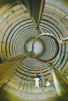 The inside of a liquid oxygen tank, part of a Stage 1 of a Saturn V Rocket used for Apollo and Skylab projects.