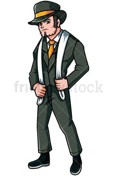 Gangster From The 1920s: Royalty-free stock vector illustration of a mobster dressed in a suit and wearing a hat and a white scarf around his neck, looking serious and dangerous. #friendlystock #clipart #cartoon #vector #stockimage #art #mafia #boss #1920 #mobster #thug #dangerous