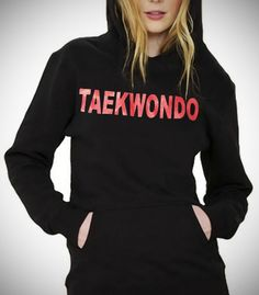 TAEKWONDO BLACK HOODIE W/ HEAT TRANSFER - CaptainSports