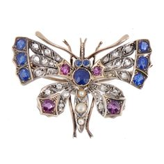 Mellors & Kirk | Fine Art | Lot 31 A RUBY, DIAMOND AND SAPPHIRE BUTTERFLY BROOCH, EARLY 20TH C bit.ly/2qj5f4Z