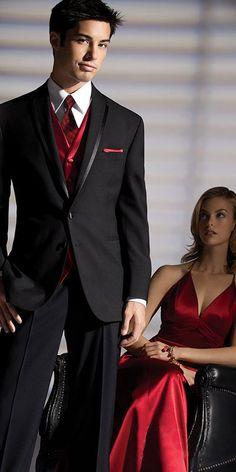 black tuxedo with red embroider on vest | Rein's Formal Wear - La Strada