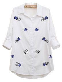 Cartoon Embroidery Cotton Lapel Shirt
