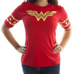 DC Comics Wonder Woman Gold Foil Striped Sleeves Red Juniors T-shirt Tee (Small) - Galleon Philippines