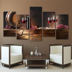 Canvas Wall Art Painting Framework Modular Pictures 5 Pieces Oak Barrels Grape Red Wine Glasses For Living Room HD Prints Poster Canvas Frame, Canvas Wall Art, Canvas Paintings, Wall Mural, Home Addition Plans, Sweet White Wine, Kitchen Modular, Wine And Canvas, Wine Down