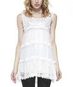 White Polka Dot Lace Sleeveless Tunic