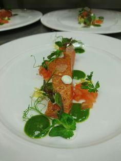 Steal salmon, sour cream, tomato puree with lamb's lettuce