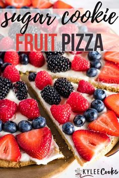 Fruit Pizza is a great way to make and easy and fantastic dessert using summer berries. Completely customizable, this is one your family will love!   #fruit #pizza #dessert #berries #summer