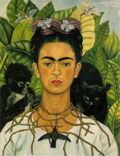 프리다 칼로 , 가시 목걸이와 벌새를 두른 자화상 , 1940 칼로의 그림에 자주 등장하는 원숭이와 고양이는 그녀의 성적 본능의 강렬함과 야수성을 상징한다.
