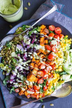 Southwestern Power Salad with Creamy Cilantro Lime Dressing