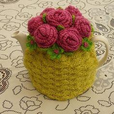 Crochet Tea Cosy/Mustard with Roses