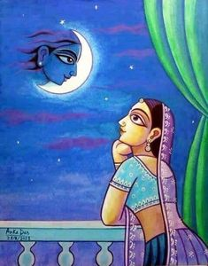 Radharani lost in thoughts of Krishna. Krishna Painting, Krishna Art, Baby Krishna, Radhe Krishna, Lord Krishna, Madhubani Art, Madhubani Painting, Diy Art Projects Canvas, Canvas Art