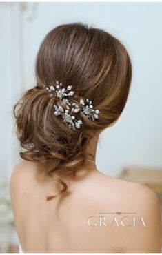 SELENE Silver Rose Pearl Bridal Hairpins #topgraciawedding #bridalhairaccessories #weddingheadband