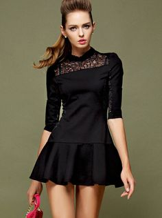 Black Stand Collar Half Sleeve Lace Ruffle Dress - Fashion Clothing, Latest Street Fashion At Abaday.com