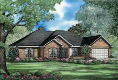 """Ranch House Plans - Traditionally one story, Ranch house plans offer inviting and informal living, with a """"less is more"""" attitude."""