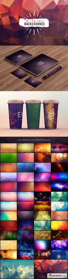 50 Low Poly Backgrounds  stock images