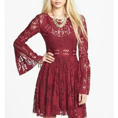 Fp Lace Lovers Dress With Back Cutout