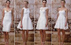Monique Lhuillier criou peças cobertas de muita renda, com saias rodadas, ressaltando o romantismo do look; e também deu destaque a vestidos...