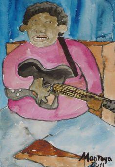 Guitarrista a lo BB.King. Exposición Museo Arte Moderno de Mazatlán, Sinaloa, México, Noviembre 2011. Juan Montoya López