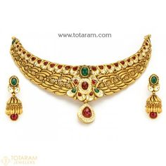22K Gold Antique Choker Necklace & Drop Earrings Set with Fancy Stones  - 235-GS3048 - Buy this Latest Indian Gold Jewelry Design in 124.500 Grams for a low price of  $6,933.49 Gold Wedding Jewelry, Gold Jewelry, India Jewelry, Gold Necklaces, Bridal Jewelry, Antique Necklace, Antique Jewelry, Indian Gold Jewellery Design, Jewellery Designs