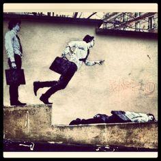 - You don't have to lead the life of lemmings. Observe the masses & do the opposite. Urban Graffiti, Street Art Graffiti, Art Installations, Installation Art, Popular Art, Outdoor Art, Chalk Art, Street Artists, Banksy