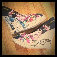 New Authentic Ed Hardy Heels New only tried on in house paid a lot for these and just don't have a use for them maybe you will with these beauties. Perfect condition. Ed Hardy Shoes Platforms