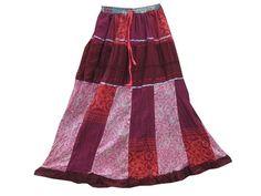 Womens Maxi Skirt Maroon Printed Patchwork Boho Chic Long Gypsy Skirts
