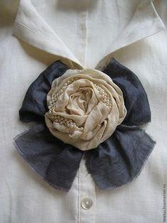 """Купить Брошь """" Бохо - шик № 1"""" - брошь, брошь цветок, бант, бохо really like the bow as a base"""