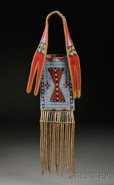 Plains Beaded Buffalo Hide Mirror Bag, c. last quarter 19th century