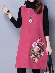 Sale 22% (29.99$) - Vintage Women Embroidery Sleeveless Woolen Vest Dress