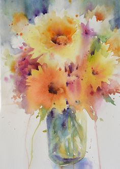 Sunny Bouquet by Yvonne Joyner Watercolor ~ 20 in. including mat x 16 in including mat Sunny Bouquet by Yvonne Joyner Watercolor ~ 20 in. including mat x 16 in including mat Watercolor Cards, Watercolour Painting, Watercolor Flowers, Painting & Drawing, Watercolors, Space Painting, Art Floral, Art Aquarelle, Chiaroscuro