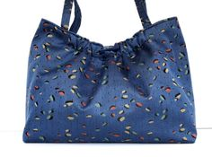 Project Bag Knitting Bag Blue Upholstery Tote by ButtermilkCottage