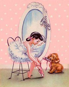 vintage ballerina with puppy