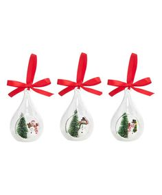 Another great find on #zulily! Snowman Scenic Ornament - Set of Three #zulilyfinds