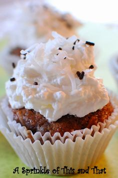 Chocolate Zucchini Coconut Cupcakes with Coconut Whip Cream Icing...zucchini has never been better