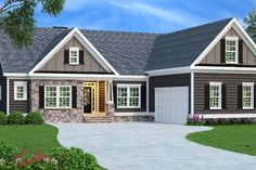 Spacious and functional, this Ranch style home features bonus space overhead and… Basement House Plans, Ranch House Plans, Craftsman House Plans, Craftsman Style, Craftsman Ranch, Basement Bedrooms, House Plans One Story, Small House Plans, Story House