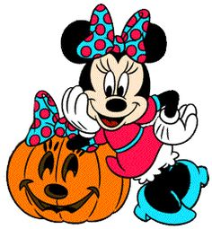 Disney Minnie Mouse Cartoon Clipart: cute picture of the Disney cartoon character Minnie Mouse wearing a bright colored costume and leaning on a jack-lantern Halloween clipart.