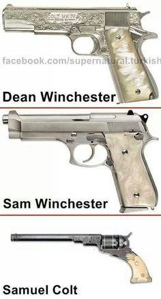 Ok, they're not exact (Dean's Colt 1911 has different engraving and ivory grips, not MOP, and obviously THE Colt looks very different from the one in the picture), but damn it I want that 1911!