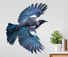 Create an impressive feature piece in your home or work space with our stunning Geometric Flying Tui Wall Decal. Our Geometric Flying Tui Wall Decal is part of the a series of New Zealand native birds exclusively created and design by Your Decal Shop. Tui Bird, Native American Tattoos, Kiwiana, Bird Drawings, Kids Decor, Decor Ideas, Wall Art Designs, Wall Stickers, Wall Decal